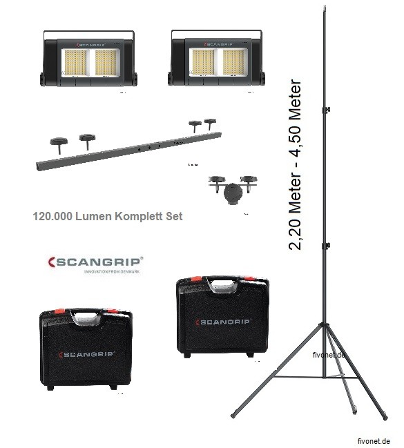 2x Scangrip 03.5269 SITE LIGHT 60 Baustrahler im Koffer Stativ 4,5m