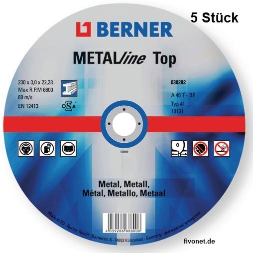 5x Metall Trennscheibe Top von BERNER für Winkelschleifer