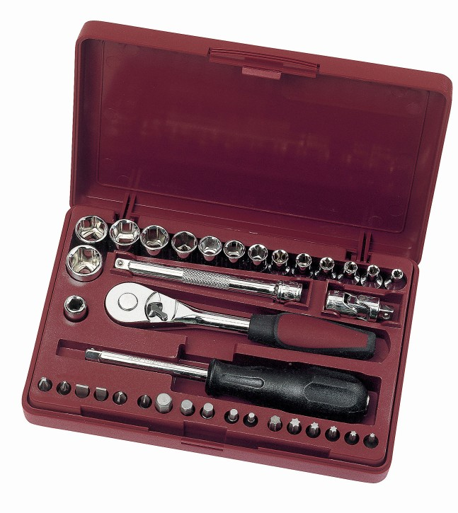 36-teiliger Steckschlüsselsatz Ratschenkasten 3,5 - 14mm