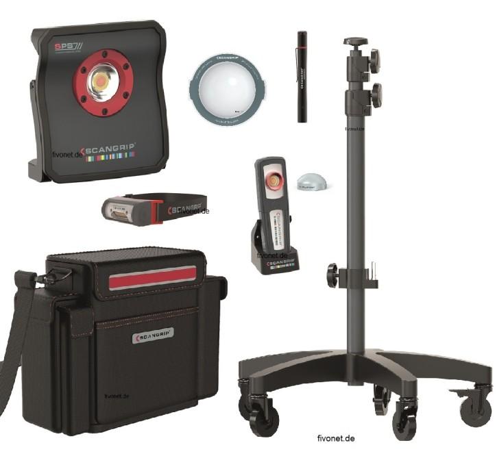Scangrip 49.0217 Ultimate Kit Fahrzeug Aufbereitung mit Rollstativ