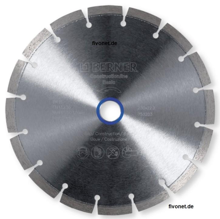 Diamant Trennscheibe Construction Line Basic von BERNER für Winkelschleifer