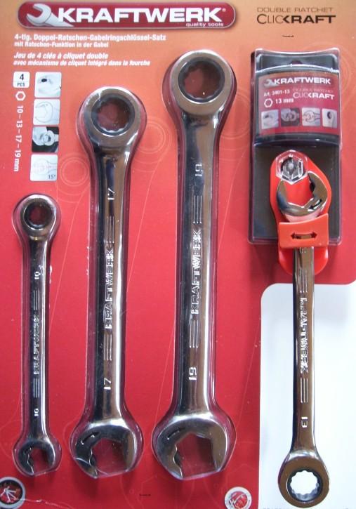 Gabel - Ringschlüssel mit Ratschenfunktion 4-tlg. KRAFTWERK