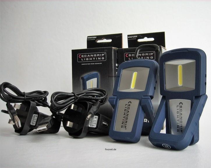 2x Scangrip Miniform 03.5491UK COB LED Akkulampe Werkstattlampe Taschenlampe