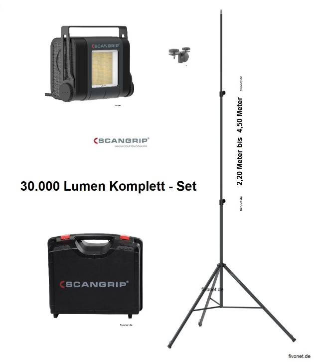 Scangrip 03.5268 SITE LIGHT 30 Baustrahler mit Koffer Stativ 4,5m