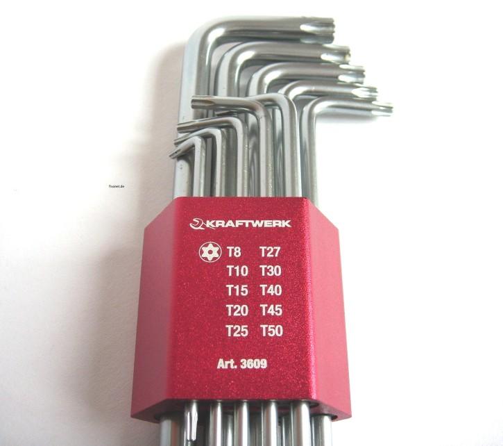 KRAFTWERK Winkelstiftschlüssel Sortiment für TX Schrauben 10-tlg.