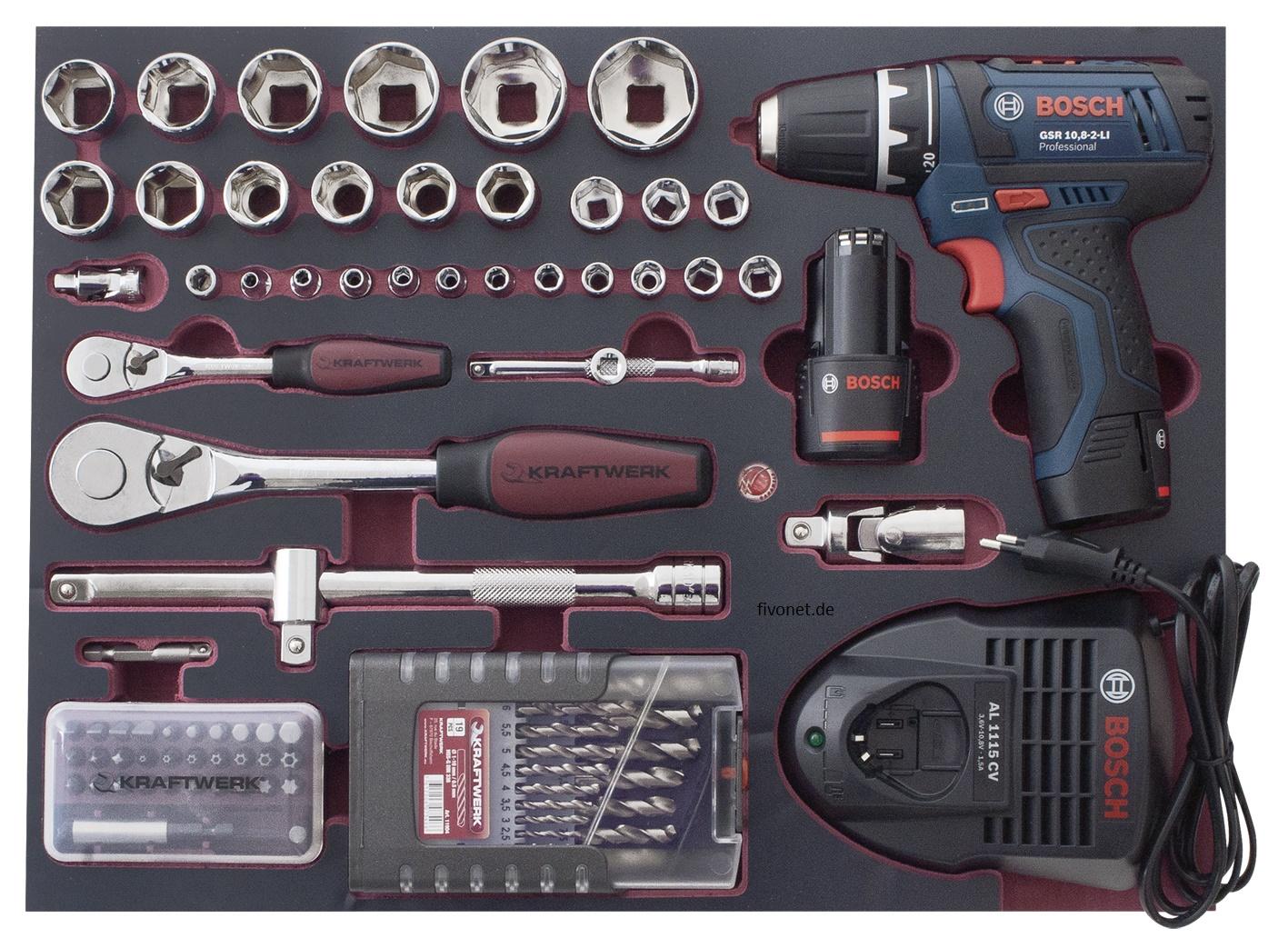 kraftwerk 3949 werkzeugkoffer mit bosch schrauber. Black Bedroom Furniture Sets. Home Design Ideas