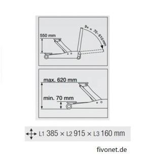 KRAFTWERK 38111 speziell flacher Wagenheber 1,5t